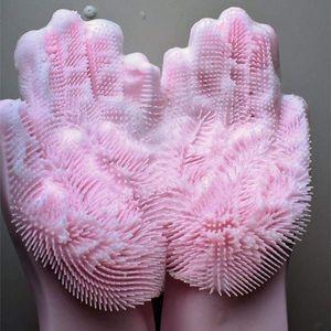 Чистый цвет силикона чистки перчатки Щетка для мытья Силиконовые кисти перчатки 2 шт 1Pair Кухня Ванная комната Очистка инструментов Поломоечные WY414Q