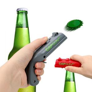 Консервные ножки Spring Cap Catapult Launcher Форма пистолета Барный инструмент Раскрытие напитка Шутер Открывалка для бутылок пива Creative