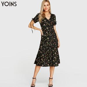 YOINS Bohemian цветочный принт V-образным вырезом скрещенный воротник Self-tie Ruffle Hem Midi Dress 2019 женские летние платья с коротким рукавом Vestidos