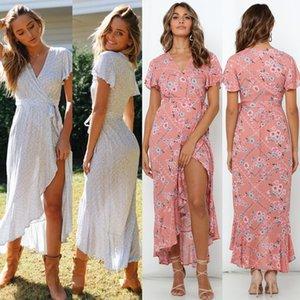 Yaz Elbise 2020 Kadınlar Boho Çiçek Maxi Elbise V Yaka fırfır Uzun Elbise Günlük Holiday Beach Elbiseler Beyaz Pembe S-XL