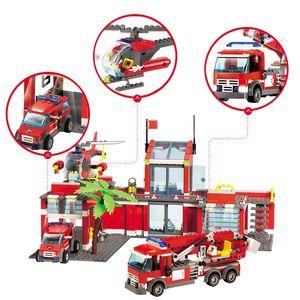 Yeni Şehir Polis İtfaiye İstasyonu Kamyon Yapı Taşları ayarlar DIY Yapı Taşları Playmobil Çocuklar Oyuncak Kurtarma Araç Eğitim Oyuncak Setleri