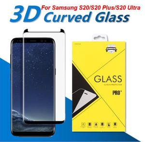 Caso Fit 3D curvo vidro Para Samsung Galaxy S20 S10 S8 S9 Além disso vidro temperado caso amigável protetor de tela para a nota 10 + 9 8 com pacote