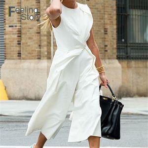 White Jumpsuit Elegant for Women 2019 Wide Leg Pants Empire Sleeveless Vest Conjoined Famale Trousers Elegance Formal Jumpsuit