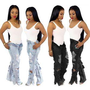 Trou Jean Longs droits Pantalon taille haute Filles Mode Pantalons Femmes Bouton Zipper Fly Jeans Printemps