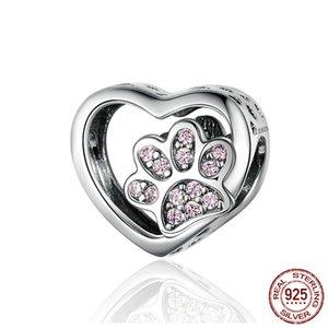 925 Sterling Silver Cat Footprints pata pulseira de impressão talão charme filhote de cachorro da pata Coração-forma Bead adequado para Bracele DIY Jóias Acessórios