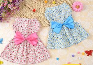 Flower Dress Abiti Pet Dog Clothes Floral arco del cane principessa abito da sposa cucciolo di cane vestiti dell'animale domestico rifornimenti Rosa Blu opzionale DSL-YW3092