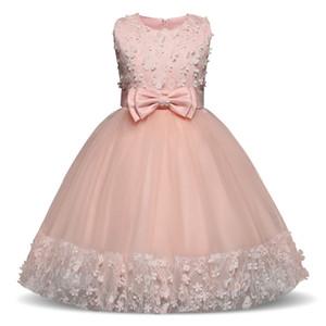 Pink Party Sleeveless Princess Kids Clothes Christmas Birthday Wedding Dress Tutu Abiti per ragazze Costume J190514