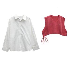 Женщины Новые наборы прибытия Весенняя мода корейских Сыпучие рубашки Короткие трикотажные жилет с длинным рукавом Солнцезащитный Рубашка Женщины Тонкий Длинные Топы