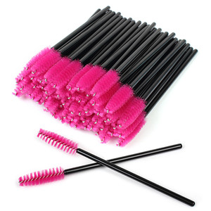 Disposable Eyelash Brushes Eyebrow Castor Oil Brush Mascara Wands Cosmetic Makeup Tools-Black and Rose Red