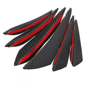6pcs Universel Noir Brillant Car Styling Accessoires Auto Pare-chocs avant lèvres en caoutchouc Fin Splitter Spoiler Valence Car Body Canard Tuning Canard