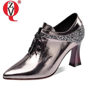 ZVQ nouveau printemps mode des femmes sexy pompes à l'extérieur bout pointu en cuir véritable femme croisée à égalité talons hauts chaussures expédition de baisse