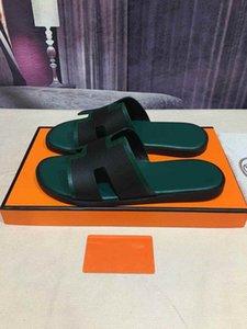 2020 nueva moda H deslizador de los zapatos de los hombres del diseñador de cuero sandalias de los hombres zapatillas de interior o al aire libre del panel de cuero de varios colores de cocodrilo
