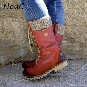 NouC 2020 nter Bottes femmes Bottes de neige design Punk Chaussures Femme lacets bottillons Retour mi-mollet Réchauffez Zapatos De Mujer