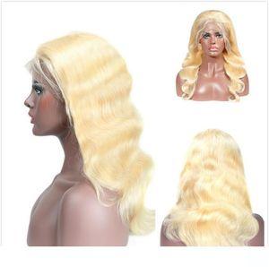 Pelucas trenzadas onduladas largas Honey Blonde Malaysian Body Wave Lace Front wigss para mujeres negras Cheap 613 Blonde Glueless pelucas llenas del cordón del pelo humano