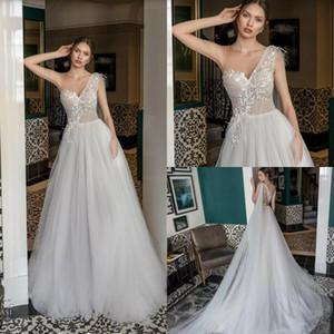 Julie Vino Beach Wedding Dresses 2019 A Line Lace Appliqued Beads Sweep Train Boho Bridal Dress Custom Made One Shoulder Sexy Wedding Gowns