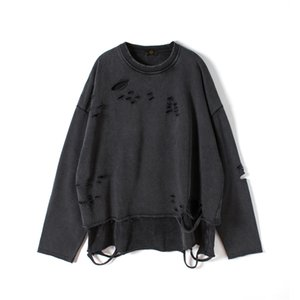 Distressed shirt Hip Hop Oversize Pull Raglan Ripped Tops Automne Streetwear