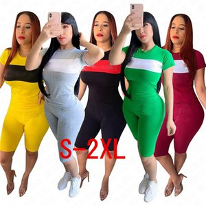 Brand Letters Women Tracksuit Designer Patchwork Color T Shirt + Shorts Two Pieces Sets Summer Short Sleeve Outfits Trendy Sportswear D62909