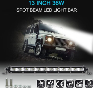 "13 ""36W LED Light Bar Slim Work Light Spot fascio di guida Fendinebbia Illuminazione stradale per camion auto SUV Boat Marine Jeep"