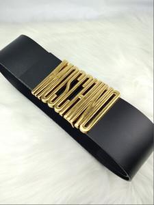 2019 de gama alta para damas cartas de moda casual hebilla de oro cinturón ancho negro y rojo 7 cm de ancho abrigo y vestido