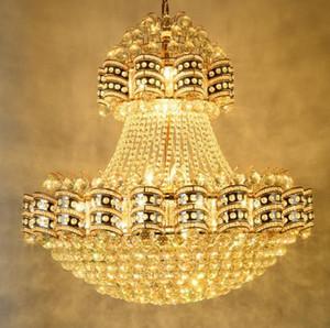 Lampadario ristorante europeo rotondo tradizionale cristallo grande progetto lampada villa edificio complesso hotel lobby lampada illuminazione a led LLFA