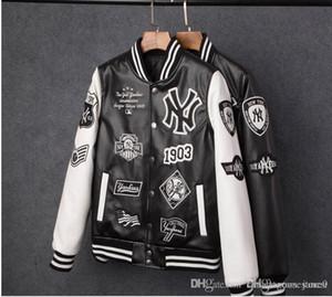 Livraison gratuite Hommes Marque Caual Mens New York PU manteau mode baseball broderie Hip Hop veste NY Sweatshirts