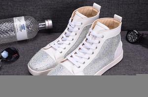 Mode blanc Rhinetone design cristal en cuir véritable pour les hommes femmes chaussures de sport rouge en bas entraîneur loisirs de luxe chaussures causales c16 CS04