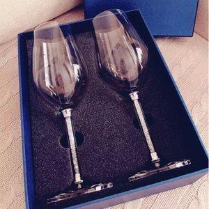 2PCS Fine Diamond Wine with Champagne Glass Elegant Goblet Champagne Flute Wine Glass 350ml 470ml