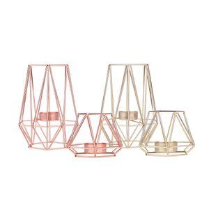 Geométrico moderno Tealight vela titular oro metálico de forma hexagonal decoración de metal para el hogar boda Iglesias restaurante Evento