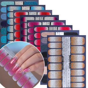 14PCS / folha Glitter Gradiente de cor Nail Stickers prego Wraps completa Tampa Manicure etiqueta DIY auto-adesivo unhas Decoração Art