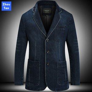 Veste en denim de mode pour les hommes Blazer Printemps Automne Coton Casual solide marque de vêtements Costume poches respirant simple boutonnage