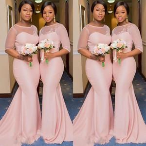 Robes de demoiselle d'honneur de taille plus sirène sud-africaine rose 2019 demoiselle d'honneur mariage robes invité appliques 1/2 manches demoiselle d'honneur