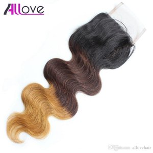 Allove T1b 4 27 Ombre Body Wave Lace Closure 4*4 Brazilian Virgin Human Hair Closure Body Wave Closure Peruvian Hair Bundles Malaysian Body