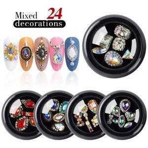 1 scatola mista 3D Rhinestones dei monili del chiodo di arte della decorazione di cristallo di gemme d'oro AB lucide pietre Charm Vetro Accessori manicure fai da te