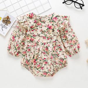 Flores Imprimir bebê Rompe Roupa para meninas Primavera manga comprida roupa Para Meninas Romper Crianças Jumpsuit One Piece-roupa de algodão