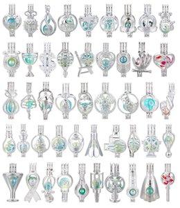 700 disegni per voi scelgono -Silver colore dell'arcobaleno Locket Pearl Beads Cage olio essenziale diffusore Locket Aperto Pendenti Fun Gifts