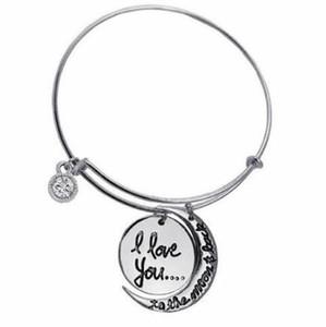 Te amo a la luna y detrás de las pulseras de dijes brazaletes de alambre expansible joyería de bricolaje regalo de la amistad brazalete de pulsera accesorios