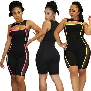 2019 Neon Striped Mesh Shorts recortados Romper mujer trajes de una pieza Traje de verano Sexy Bodycon Jumpsuit Ompers Womens Jumpsuit Plus Size