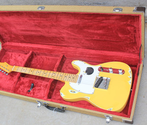chitarra elettrica Valigia corpo giallo e del collo giallo bianco Battipenna concedono misura TESTA trasporto libero di marchio