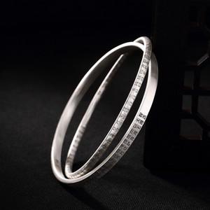 S999 pure silver retro Prajna Paramita Heart Sutra women's bracelet high grade double ring pure silver bracelet