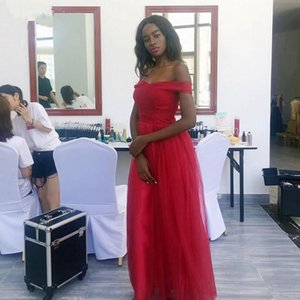 Arabic Aso Ebi Off Shoulder Red Tulle A Line Long Prom Dresses Plus Size Formal Party Gowns Custom Made Evening Dresses Pageant Gowns