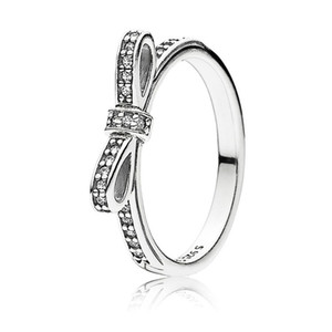 Anel de arco clássico 18k Rose Gold Mulheres Anéis Caixa Original para Pandora 925 Sterling Silver CZ Diamond Anel Conjuntos