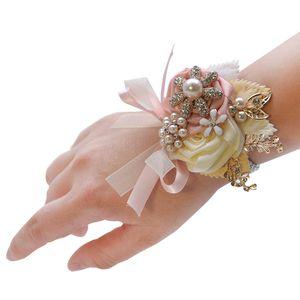 2019 Wrist Corsage Bridesmaid Bride Wrist Corsage Pulseira Suprimentos Rosas Brancas de Pulso Flor Casamento Acessórios Do Casamento