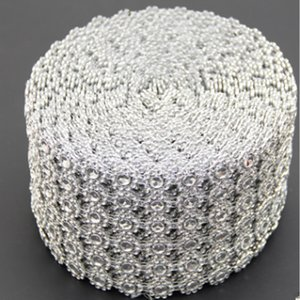 Silber Diamant Strass Blume Mesh Wrap Roll Kristall Strass Sparkle Ribbon DIY Kuchen Roll Hochzeit Party Decor