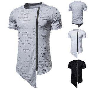 Mens Summer Tshirts Дизайнер Hole Щитовые тройники с молнией моды Natural Color Tshirts Crew шеи короткий рукав Casual футболка