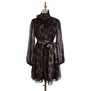 [MENKAY] Primavera leopardo de la vendimia impresión del vendaje de las mujeres elegantes Manga larga escarpada de Corea ropa de moda