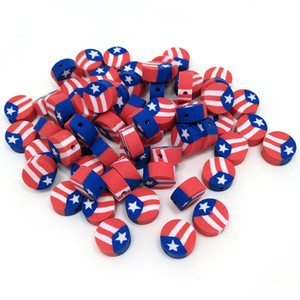 3 Styles 300pcs per lot Round Clay National Flag Beads of America Puerto Rico and UK Size in 10mm Diameter for Jewelry DIY