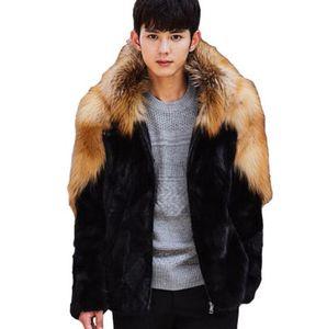 가을은 가짜 밍크 가죽 자켓 남성 겨울 두껍게 따뜻한 모피 가죽 코트 남성 후드 슬림 재킷 jaqueta 드 Couro이 패션 B35