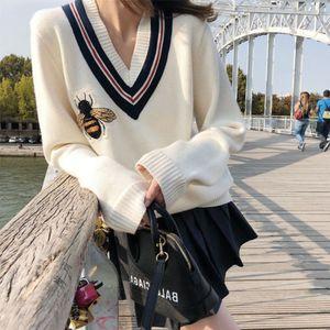 Новый роскошный дизайнер женская пчела вышивка вязаный V-образным вырезом пуловер свитер Jumpers бесплатная доставка
