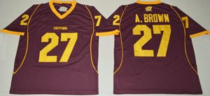 NCAA Central Michigan Chippewas College #27 Antonio Brown Jersey Home Maroon Cheap A. Brown University Football Jerseys Shirts S-XXXL