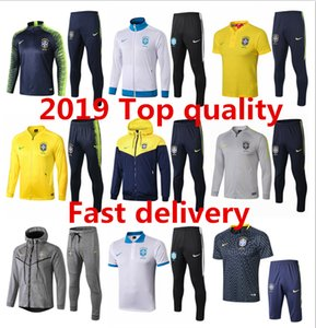 2019 Brasilien Herrenjacke Polohemd Coutinho Hoodie Fußball kurze lange Hülse Jesus Windjacke Trainingsanzüge Fußball-Trikot Trainingsanzüge Kits